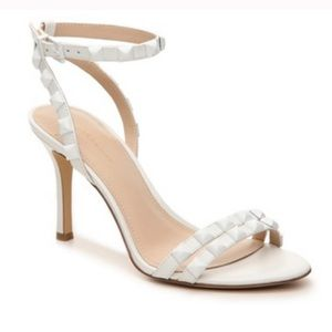 BCBG | White Dacotah Studded Anly Strap Heel